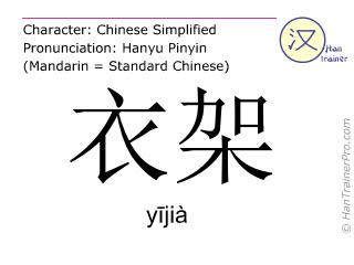 Caracteres chinos  ( yijia / yījià ) con pronunciación (traducción española: tendedero )