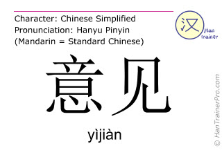 Chinese characters  ( yijian / yìjiàn ) with pronunciation (English translation: opinion )