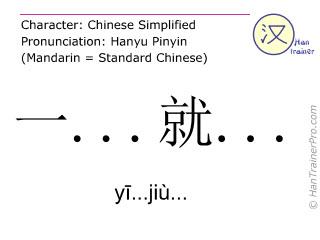 Chinesische Schriftzeichen  ( yi...jiu... / yī...jiù... ) mit Aussprache (Deutsche Bedeutung: sobald )