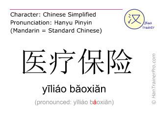 Caracteres chinos  ( yiliao baoxian / yīliáo băoxiăn ) con pronunciación (traducción española: seguro médico )