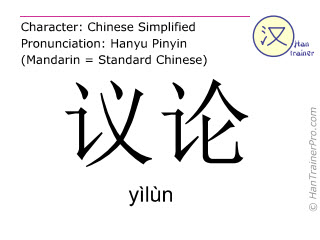 Chinese characters  ( yilun / yìlùn ) with pronunciation (English translation: discussion )