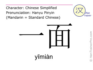 Chinese characters  ( yimian / yīmiàn ) with pronunciation (English translation: one side )