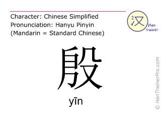 Chinesische Schriftzeichen  ( yin / yīn ) mit Aussprache (Deutsche Bedeutung: passioniert )