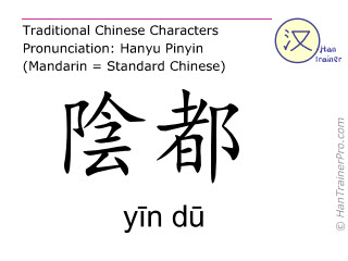 Chinese characters  ( yin du / yīn dū ) with pronunciation (English translation: Kidney 19 )