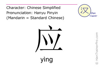 Chinese characters  ( ying / yìng ) with pronunciation (English translation: to answer )