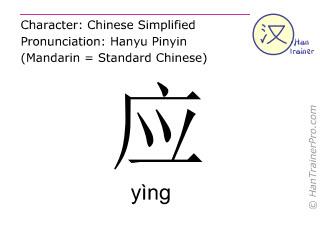 Caractère chinois  ( ying / yìng ) avec prononciation (traduction française: répondre )