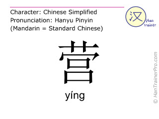 Chinese characters  ( ying / yíng ) with pronunciation (English translation: <m>camp</m> )
