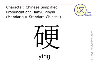 Chinese characters  ( ying / yìng ) with pronunciation (English translation: hard )