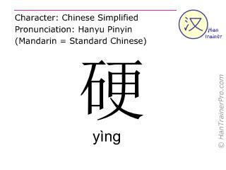Caracteres chinos  ( ying / yìng ) con pronunciación (traducción española: duro )