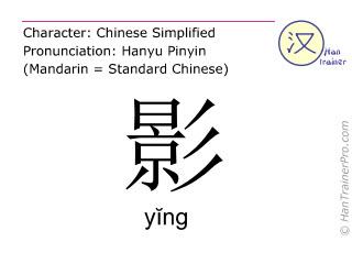 Caracteres chinos  ( ying / yĭng ) con pronunciación (traducción española: <m>sombra</m> )