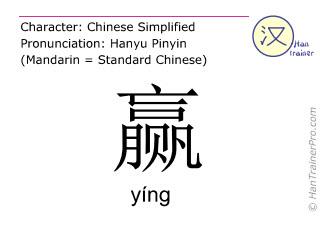 Chinesische Schriftzeichen  ( ying / yíng ) mit Aussprache (Deutsche Bedeutung: gewinnen )