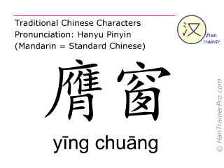 Chinese characters  ( ying chuang / yīng chuāng ) with pronunciation (English translation: Stomach 16 )