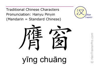 Chinesische Schriftzeichen  ( ying chuang / yīng chuāng ) mit Aussprache (Deutsche Bedeutung: Magen 16 )
