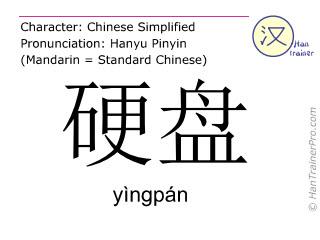 Chinesische Schriftzeichen  ( yingpan / yìngpán ) mit Aussprache (Deutsche Bedeutung: Festplatte )