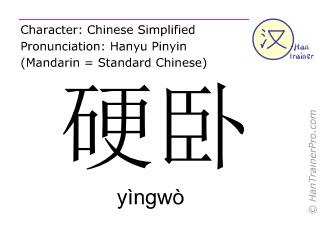 Chinesische Schriftzeichen  ( yingwo / yìngwò ) mit Aussprache (Deutsche Bedeutung: harter Schlafplatz )
