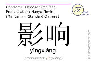 Chinese characters  ( yingxiang / yĭngxiăng ) with pronunciation (English translation: influence )