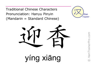 Chinese characters  ( ying xiang / yíng xiāng ) with pronunciation (English translation: Large Intestine 20 )