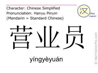 Chinese characters  ( yingyeyuan / yíngyèyuán ) with pronunciation (English translation: clerk )