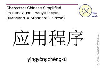 Chinese characters  ( yingyongchengxu / yìngyòngchéngxù ) with pronunciation (English translation: application )