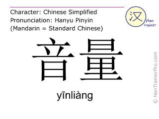Chinesische Schriftzeichen  ( yinliang / yīnliàng ) mit Aussprache (Deutsche Bedeutung: Lautstärke )