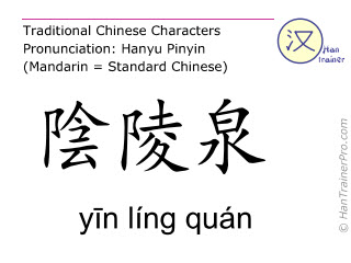 Chinese characters  ( yin ling quan / yīn líng quán ) with pronunciation (English translation: Spleen 9 )