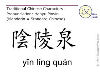 Chinesische Schriftzeichen  ( yin ling quan / yīn líng quán ) mit Aussprache (Deutsche Bedeutung: Milz 9 )