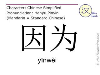汉字  ( yinwei / yīnwèi ) 包括发音 (英文翻译: because )