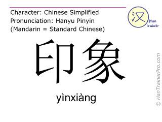 汉字  ( yinxiang / yìnxiàng ) 包括发音 (英文翻译: impression )