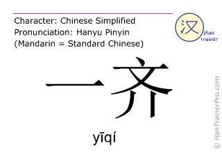 Chinese characters  ( yiqi / yīqí ) with pronunciation (English translation: at the same time )