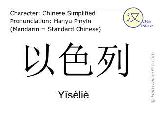 Chinese characters  ( Yiselie / Yĭsèliè ) with pronunciation (English translation: Israel )