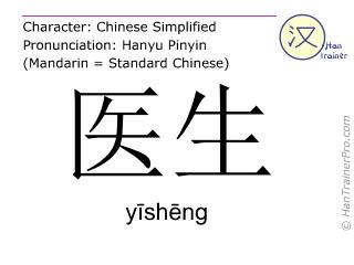 汉字  ( yisheng / yīshēng ) 包括发音 (英文翻译: doctor )