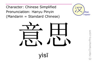 Chinese characters  ( yisi / yìsī ) with pronunciation (English translation: meaning )