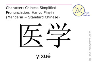 Chinese characters  ( yixue / yīxué ) with pronunciation (English translation: medicine )