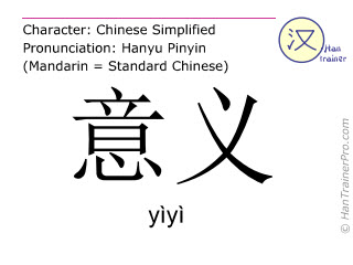 Chinese characters  ( yiyi / yìyì ) with pronunciation (English translation: meaning )
