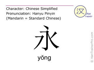 Caracteres chinos  ( yong / yŏng ) con pronunciación (traducción española: <m>siempre</m> )