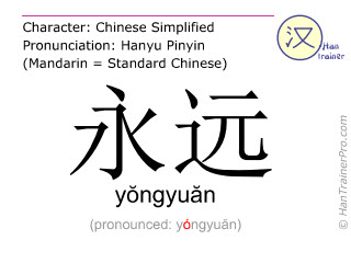 Chinese characters  ( yongyuan / yŏngyuăn ) with pronunciation (English translation: forever )