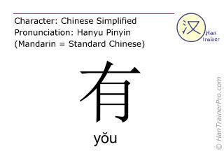Chinesische Schriftzeichen  ( you / yŏu ) mit Aussprache (Deutsche Bedeutung: haben )