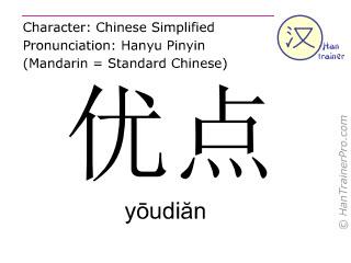 Chinesische Schriftzeichen  ( youdian / yōudiăn ) mit Aussprache (Deutsche Bedeutung: Vorteil )
