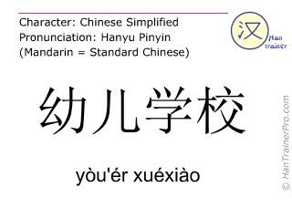 Caracteres chinos  ( you'er xuexiao / yòu'ér xuéxiào ) con pronunciación (traducción española: parvulario )