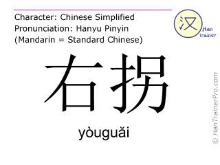 汉字  ( youguai / yòuguăi ) 包括发音 (英文翻译: to turn right )
