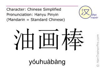 Chinesische Schriftzeichen  ( youhuabang / yóuhuàbàng ) mit Aussprache (Deutsche Bedeutung: Öl-Pastell )
