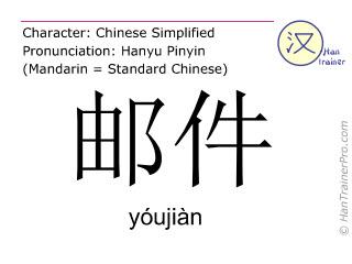 Caractère chinois  ( youjian / yóujiàn ) avec prononciation (traduction française: courrier )