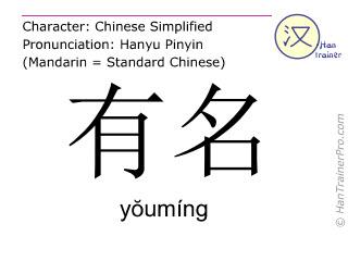汉字  ( youming / yŏumíng ) 包括发音 (英文翻译: famous )