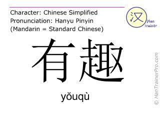Chinesische Schriftzeichen  ( youqu / yŏuqù ) mit Aussprache (Deutsche Bedeutung: lustig )