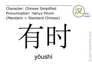 Chinesische Schriftzeichen  ( youshi / yŏushí ) mit Aussprache (Deutsche Bedeutung: manchmal )