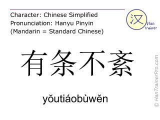 Chinese characters  ( youtiaobuwen / yŏutiáobùwĕn ) with pronunciation (English translation: in order )