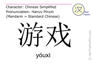 Chinese characters  ( youxi / yóuxì ) with pronunciation (English translation: game )
