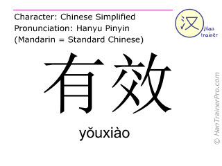 Chinesische Schriftzeichen  ( youxiao / yŏuxiào ) mit Aussprache (Deutsche Bedeutung: gültig )