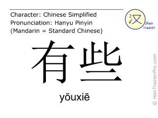 汉字  ( youxie / yŏuxiē ) 包括发音 (英文翻译: some )