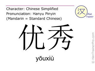 Caractère chinois  ( youxiu / yōuxiù ) avec prononciation (traduction française: excellent )
